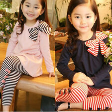 2pcs Baby Girl Kids Bowknot T-shirt Top+Pants Leggings Tights Outfit Clothes PHD