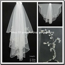 Stock White/Ivory 2T Tulle Pearl Bridal Accessories Wedding Dress Veil With Comb