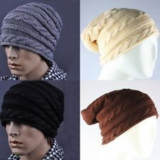 Casual Man's Knitted Beanie Crochet Slouch Winter Warm Ski Caps Hat Black Brown
