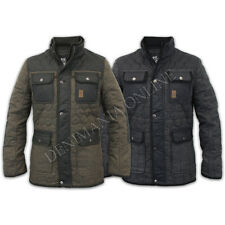 mens crosshatch wool mix tweed coat casual winter quilted lined button jacket
