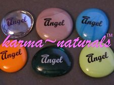 INSCRIBED Spirit Word GLASS STONE Looks Engraved - CHRISTMAS ANGELS GOD Believe