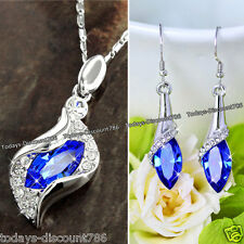 ROYAL BLUE CRYSTAL NECKLACE EARRINGS LOVE XMAS GIFTS HER LADY WIFE DAUGHTER GIRL