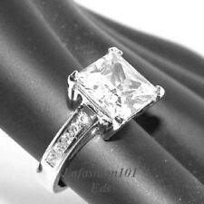 Big Princess Cut CZ Tarnish Free Stainless Steel Womens Engagement Ring SZ 5-10