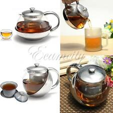 Stainless Steel Glass Infuser Teapot Faced Herbal W/ Tea Leaf 500/600/750/800ml