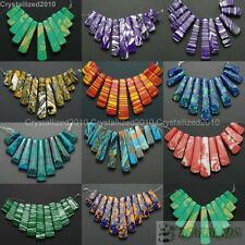 Howlite Turquoise Colorful Gemstone Graduated Stick Beads Pendant Set 11Pcs Pick