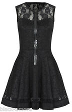 NEW BLACK MINI GOTHIC DRESS ROSE JACQUARD LACE GOTH STEAMPUNK VTG VICTORIAN