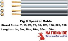 Speaker Cable, White & Black, All Strand Sizes & Lengths, Hi-Fi, Surround Sound