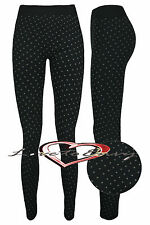 Ladies Spotty Leggings NEW Warm Fleece Lined Thick Thermal Tights Size 8 - 14