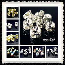 Free DIY Jewelry Making 100PCS Crystal Rondelle Spacer Beads 6~8mm Gold / Silver