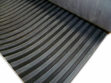 BROAD/WIDE RIBBED RUBBER MATTING / ANTI SLIP FLOORING - 1.2M WIDE X 3MM THICK