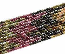 4,5,6,8,9mm Natural Multicolor Tourmaline Round Gemstone Beads 15''