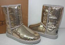Ugg Classic Short sparkles sequin silver boots New In Box!