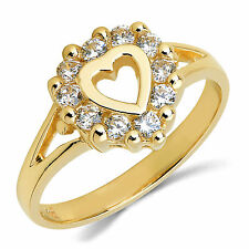 14K Solid Yellow Gold CZ Cubic Zirconia Heart Ring Band