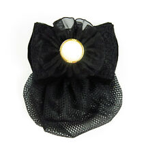 Black Bow Ribbon Barrette Hair Clip With Snood Net