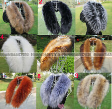 Women's Faux Raccoon Fur Scarf Scarves Collar Hood Trim Fluffy with Bottons UK S