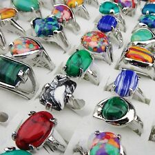 Wholesale 50pcs Mix Malachite Stones Silver P Women Mens Rings Vintage Jewelry