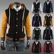 Men's New Varsity Letterman Hoodie Baseball Jacket XS/S/M/L 8-Colors Top Design
