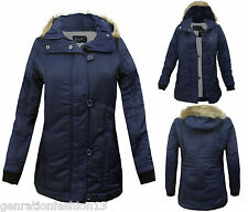 WOMEN LADIES FUR HOODED QUILTED PADDED ZIP  BUTTON PARKA WINTER JACKET COAT 8-16