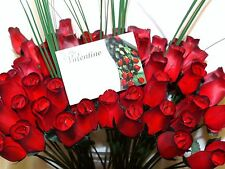FREE GIFT CARD WHOLESALE VALENTINES DARK RED ARTIFICIAL FLOWERS WOODEN ROSES