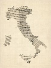 Old Sheet Music Map of Italy Map, Art Print Poster - s907