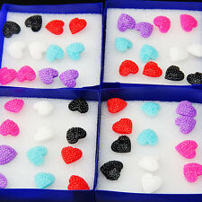 Lovely Mix Color 96pcs Fashion Womens Heart Stud Earrings Wholesale Jewelry Lots