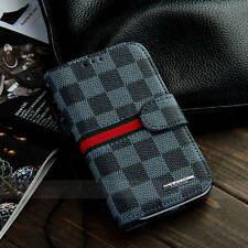 Luxury Designer Check Wallet Cases Covers for Samsung Galaxy S4 i9500 Plaid Men