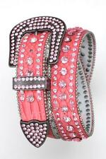(Pink) Western Cowgirl LEATHER Belt Crystal BLING Rhinestone (S M L XL) Rodeo