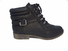 Ladies Black Lace up Ankle Boot with Padded Colllar & Buckle Trim SIZE 3-8 (Z21)