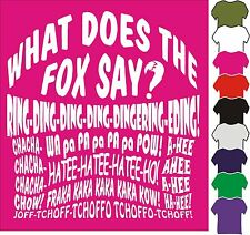 WHAT DOES THE FOX SAY? YOUTH ADULT XS S M L XL2X 3X 4X 5X FUNNY T-SHIRT words O