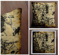 Middle Earth lord of rings map  -Cushion Fabric Panel Or Case or with Filling