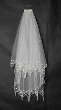 New 2-Layer Handmade Beaded Crescent edge with Comb Bridal Accessories Veil