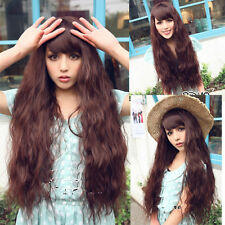 new fashion curly wave long brown hair full wigs women cosplay party/daily wig