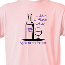 """50th BIRTHDAY T-Shirt """"Like a FINE WINE, Vintage 1964"""" PINK Tee -50 Year Old"""