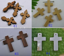 wood/shell carved Jesus cross charm Pendant (pick Type and size) FREE SHIP