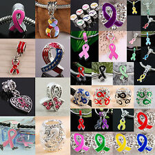 Crystal Czech European Bead/Pendant Ribbon Charms Breast Cancer Awareness U Pick