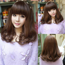 new fashion women/girl curly wavy hair full wigs medium long cosplay party wig