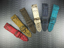 24mm PYTHON Skin Leather Strap Red Blue Brown Deployment Buckle Band Fit PANERAI