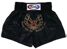 Fairtex Embroided Muay Thai Shorts - Phoenix, Black Satin  BS0642 boxing shorts