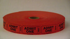 ADMIT ONE Single Numbered Roll Tickets - Roll of 2000  (4 COLORS)