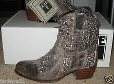 NEW FRYE DEBORAH Star Short Bootie BOOTS Shoes Gray Studded Pull-on Ankle $498