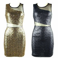 New blue golden sequin insert sheer mesh panel dress