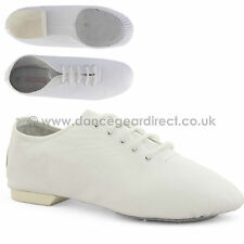 White Leather Split Sole Jazz Shoes Girls Childs Ladies Mens By Dance Gear 2JSSW