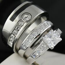 HOT New 3pcs His & Hers Wedding Engagement Set Rings Silver Stain Steel 7 8 9 11