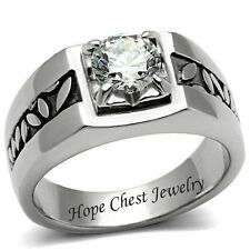MEN'S SILVER TONE STAINLESS STEEL 1.25 CARAT CUBIC ZIRCONIA RING SIZE 8 - 13