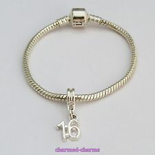 1 x Silver Plated Age / Number Charm Dangle Bead Love Bracelet Birthday Gift Set