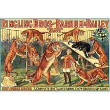 Tigers Vintage Ringling Bros Barnum & Bailey Jungle Circus Poster Decor Wall Art