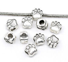 NEW Silver Tone Dog Bear Tiger Wolf Paw Charm Beads Fit European Charm Bracelets