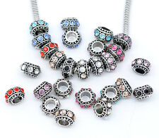 NEW Antique Silver Tone Rhinestone Spacer Beads Fits European Charm Bracelets