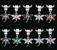 Silver Plated Rhinestone Dragonfly Dangle Charm Bead Fit European Snake Bracelet