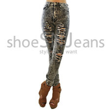 New Women High Waist Ripped Jeans Destroyed Pants Acid Wash Sexy Skinny Denim
